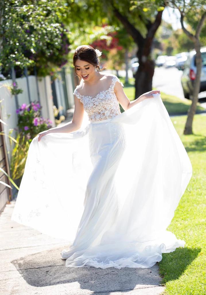 Bride Jane Cap Sleeves Mermaid Wedding Dress with
