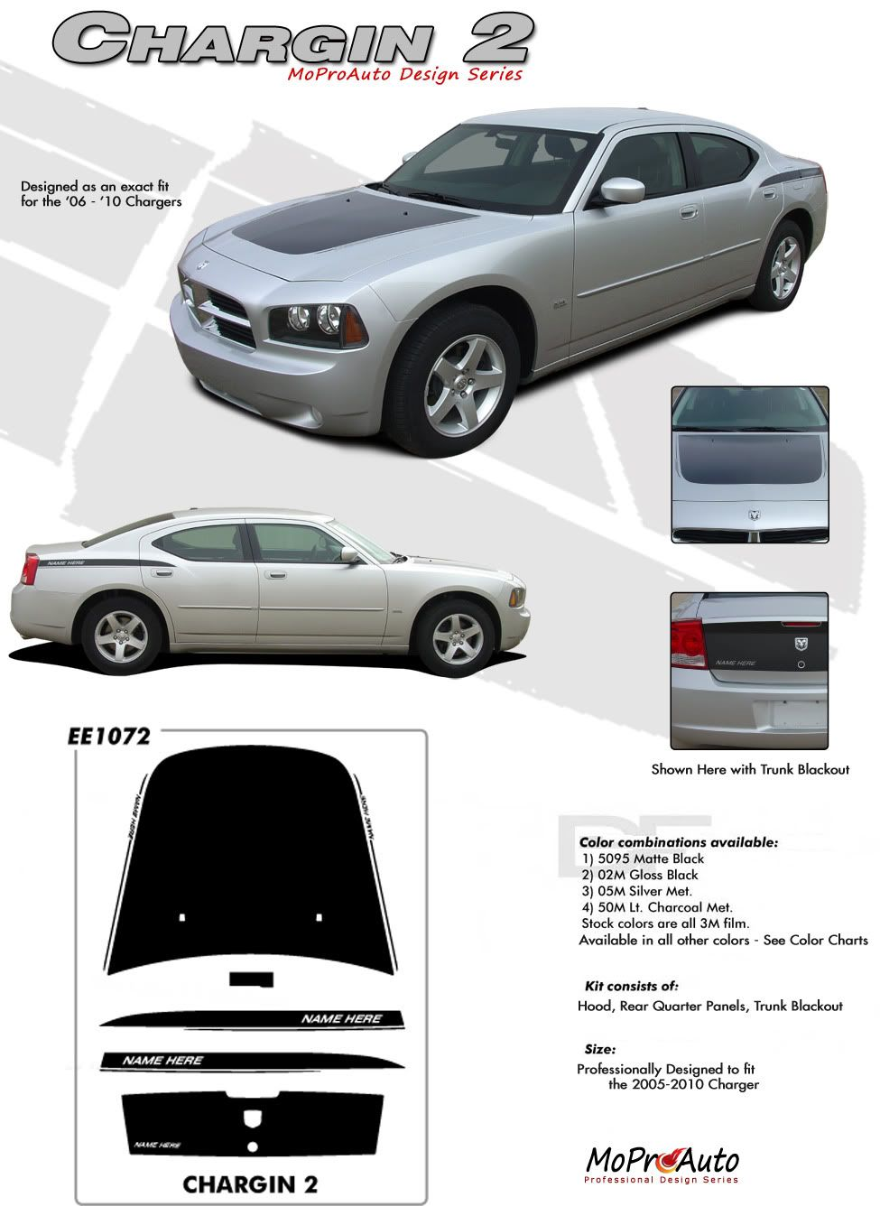 2006 Dodge Charger Decals : dodge, charger, decals, 2006-2010, Dodge, Charger, Vinyl, Graphics, Stripes, Decals