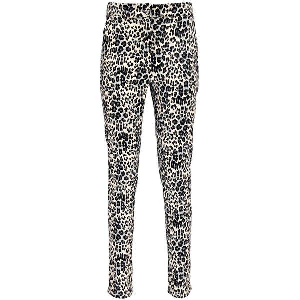 Boohoo Lara Leopard Print Slim Leg Cigarette Trousers ($16) ❤ liked on Polyvore featuring pants, white leopard pants, white pants, cigarette trousers, white trousers and cotton trousers