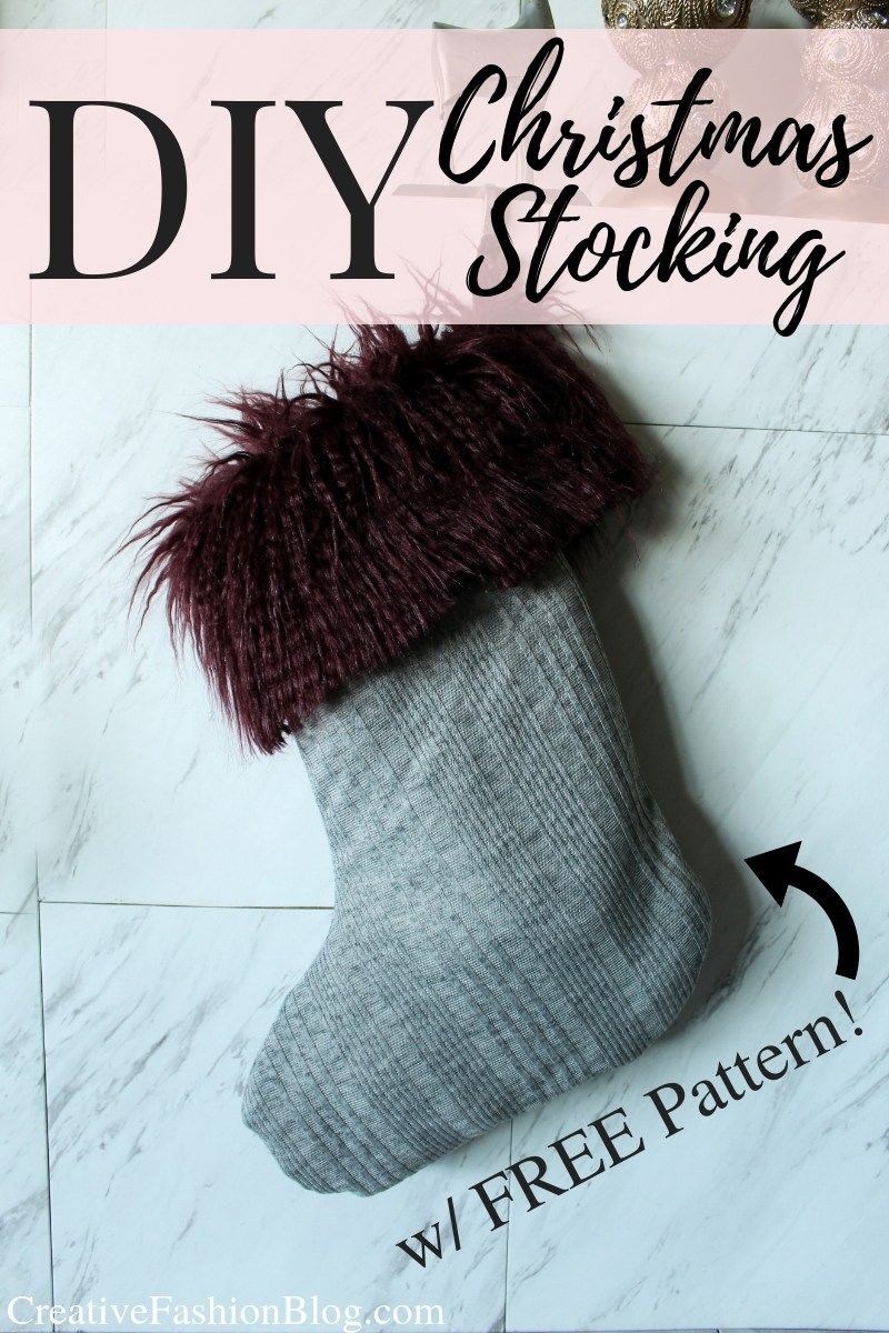 2936873dc83c How to Make an easy faux fur DIY Christmas Stocking FREE printable pattern.  These stocking ideas can be made in several fabrics from felt to burlap to  fur.