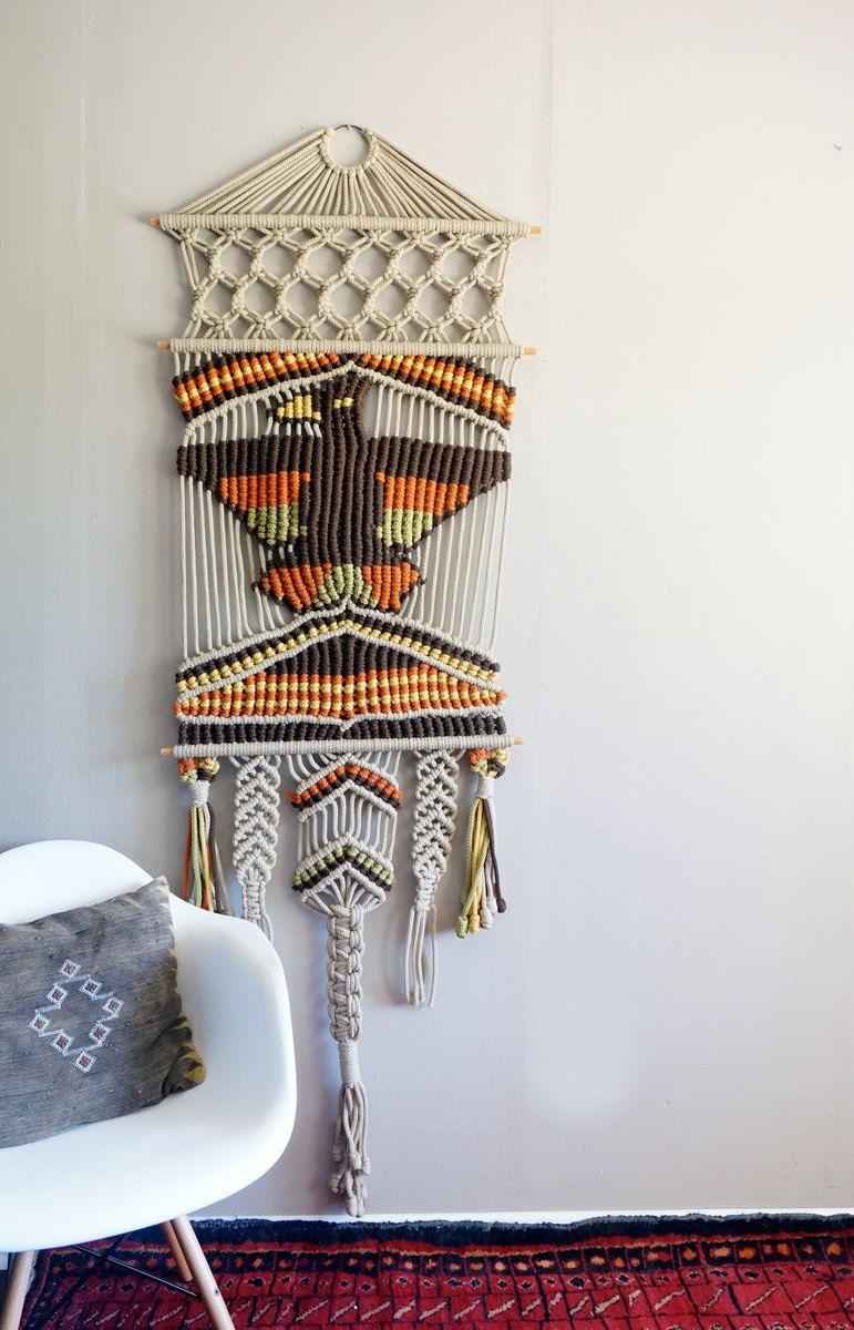 Vintage Native American Eagle Macrame Wall Hanging Etsy Vintage Macrame Wall Hanging Macrame Wall Hanging Macrame