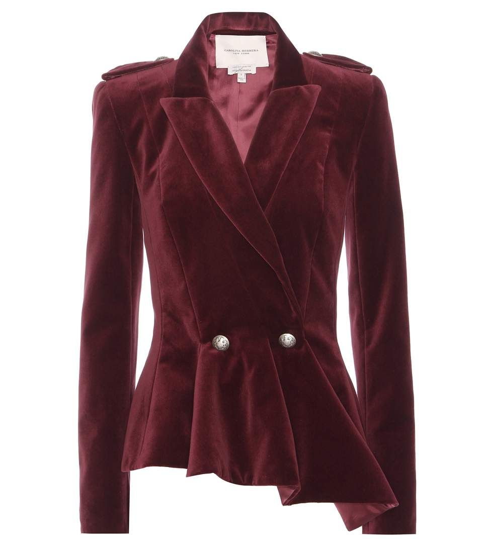 Carolina Herrera - mytheresa.com exclusive velvet jacket - This bordeaux-red blazer is crafted from plush velvet with an asymmetrically pleated hemline to temper the sharp collar and lapel. Silver-tone embossed buttons offer an opulent finish to the tailored design. - @ www.mytheresa.com