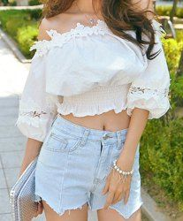 Sweet Slash Neck Lace Splicing Half Sleeve Blouse and Denim Shorts Twinset For Women