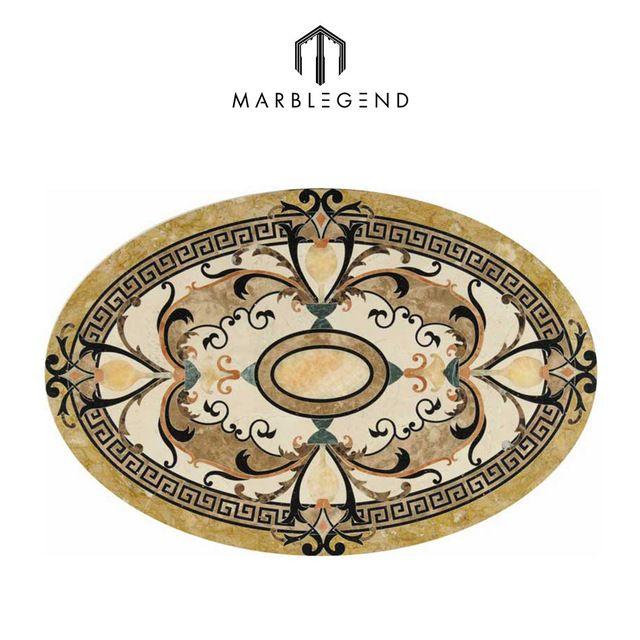 Source Classic Oval Medallion Flower Waterjet Marble Tiles Design