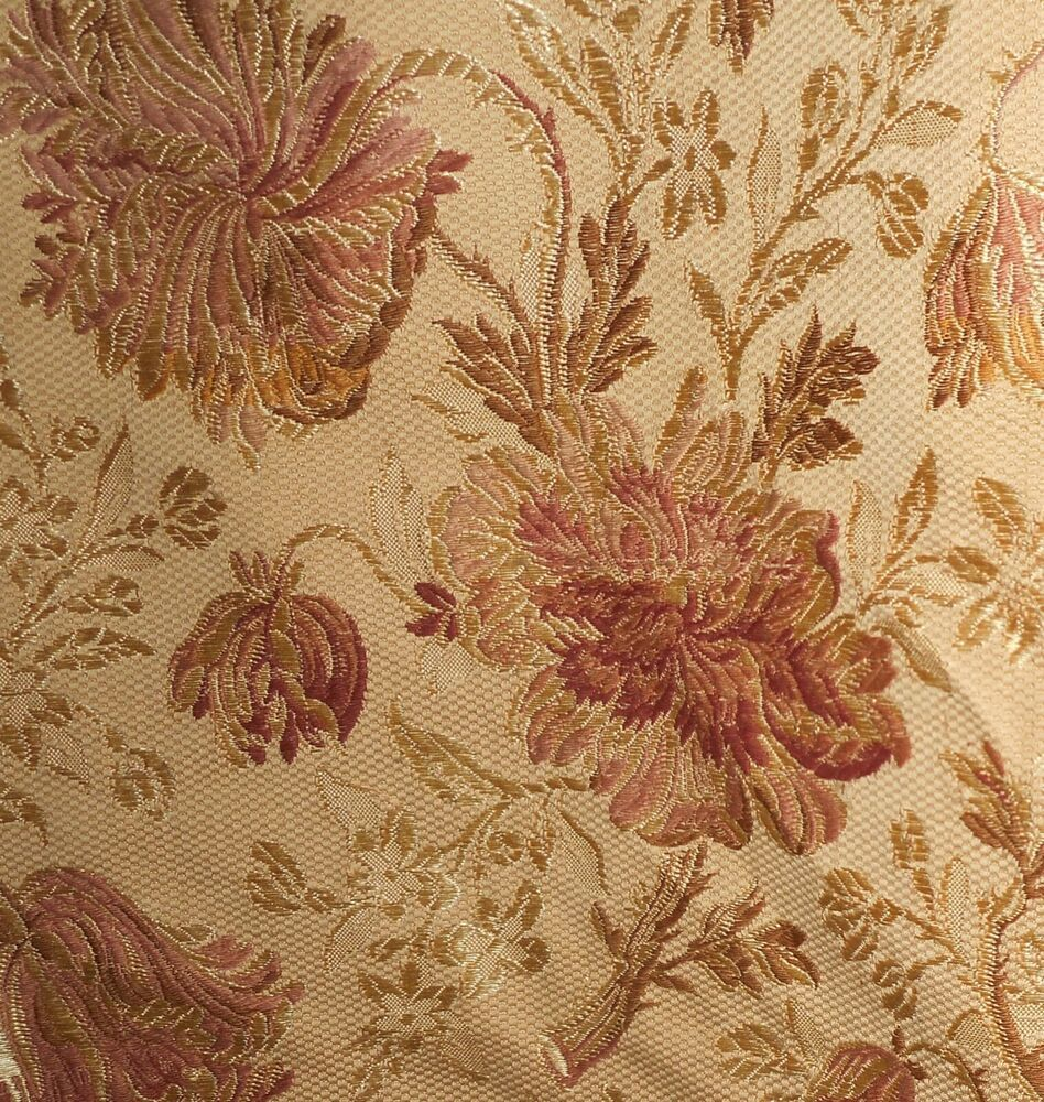 Antique French Lily  Floral Ticking Damask Cotton Fabric ~  Yellow