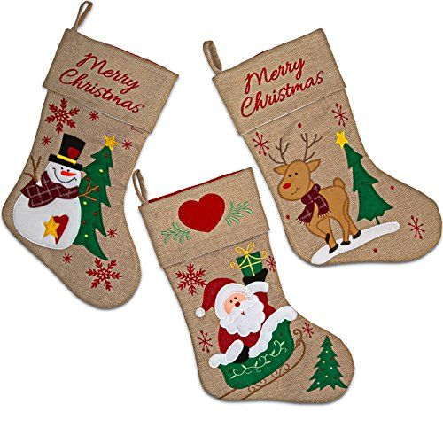 18 burlap christmas stockings set of 3 gift boutique httpswww - Amazon Christmas Stockings