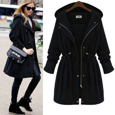 Bestpriceam Womens Slim Long Coat Jacket Windbreaker Parka Outwear Cardigan Coat XL, Black