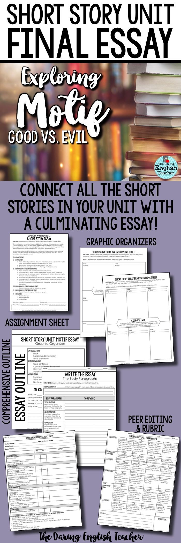 Complete your short story unit with a literary analysis essay that explores the common motif of Good Vs. Evil across three different stories. This is an ideal essay for high school English students.