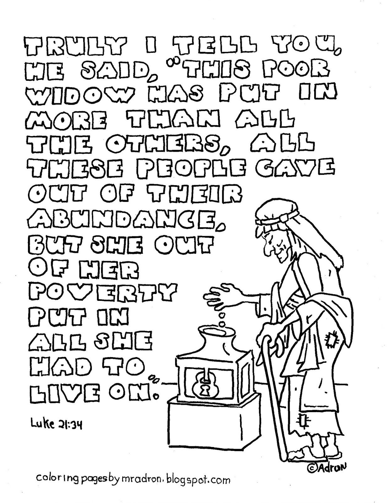 Coloring Pages For Kids By Mr Adron The Widows Mite Printable Page Verse Form Luke 213 4