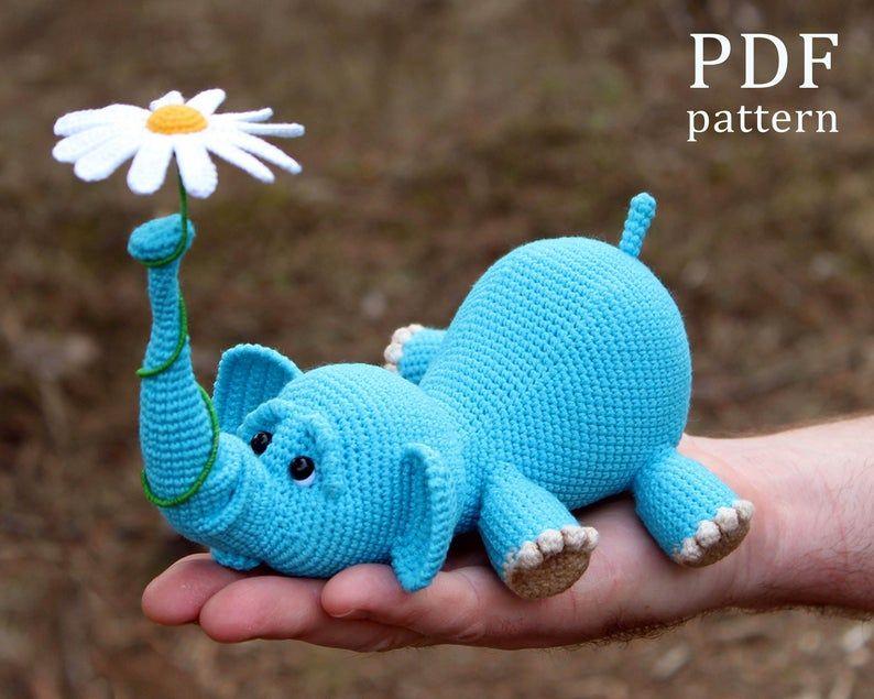 Amigurumi Elephant and balloon. Amigurumi Elephant and flower. Crochet pattern PDF. Tutorial.