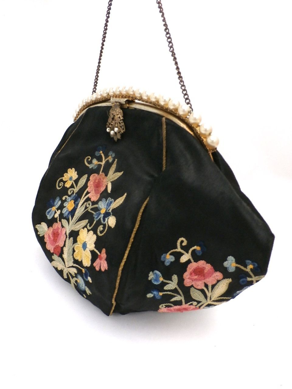 Vintage Evening Bag H A E Smith France Black Crewel Purse 1930s