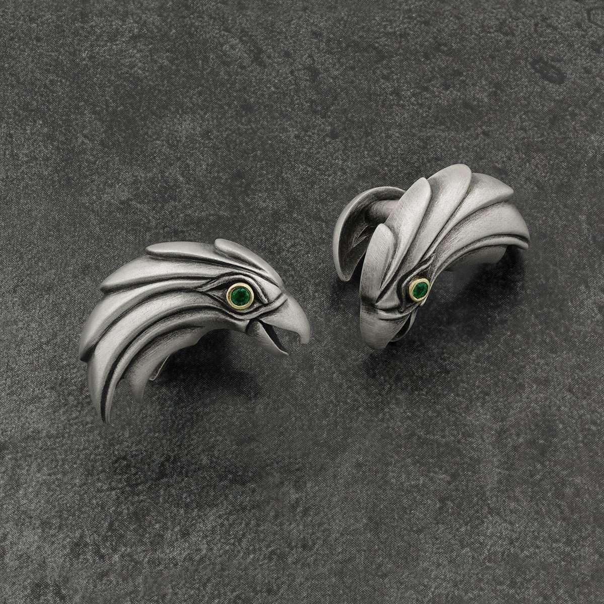 Snake Bones Eagle Cufflinks With Emerald Eyes DbhcW4oW