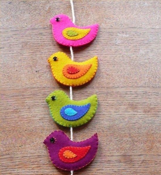 Movil Para Bebes Con Pajaros En Fieltro Aves De Fieltro Manualidades Pájaros De Tela