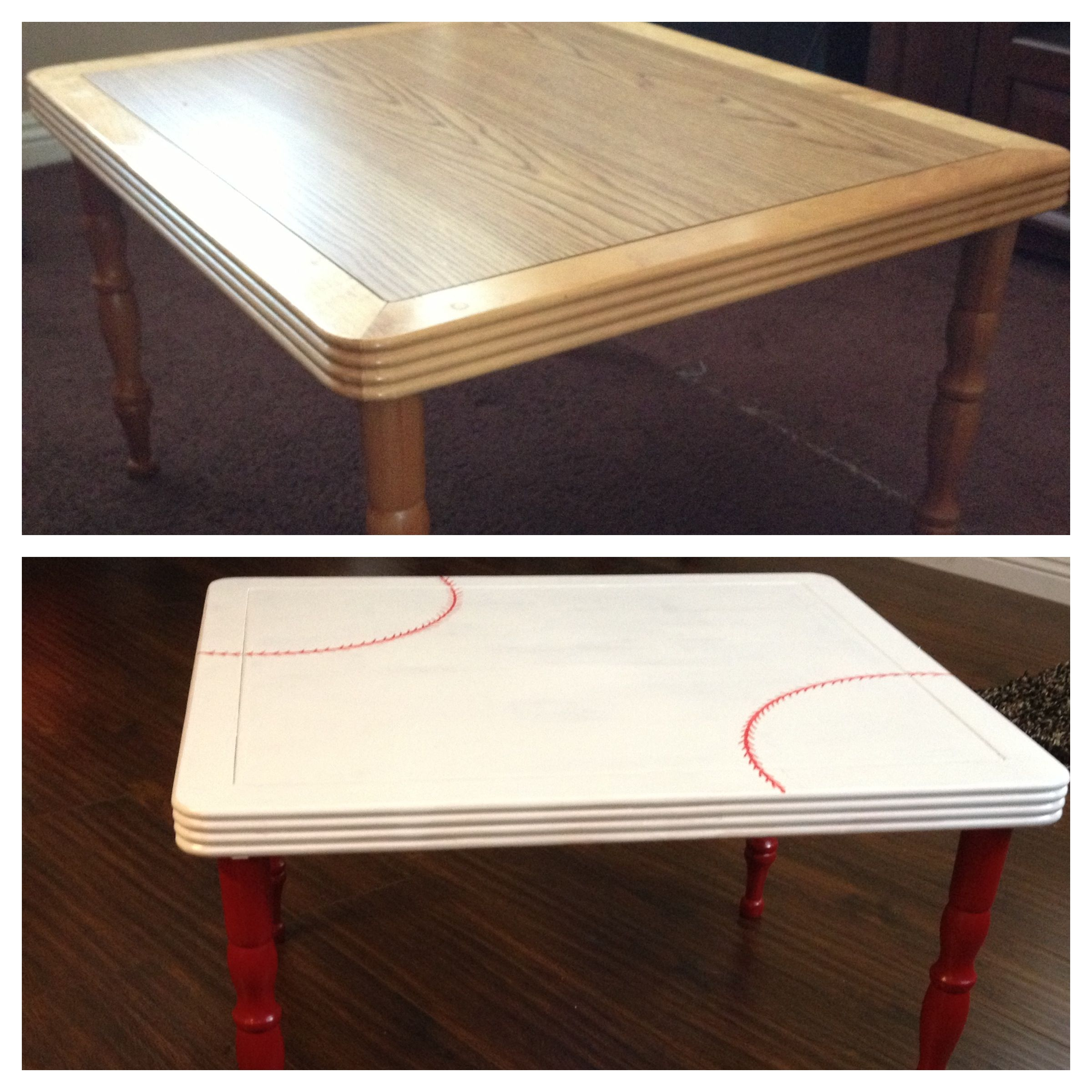 Table was free and had white and red paint on hand the only thing I paid for was a red sharpie to make the stitching lines.