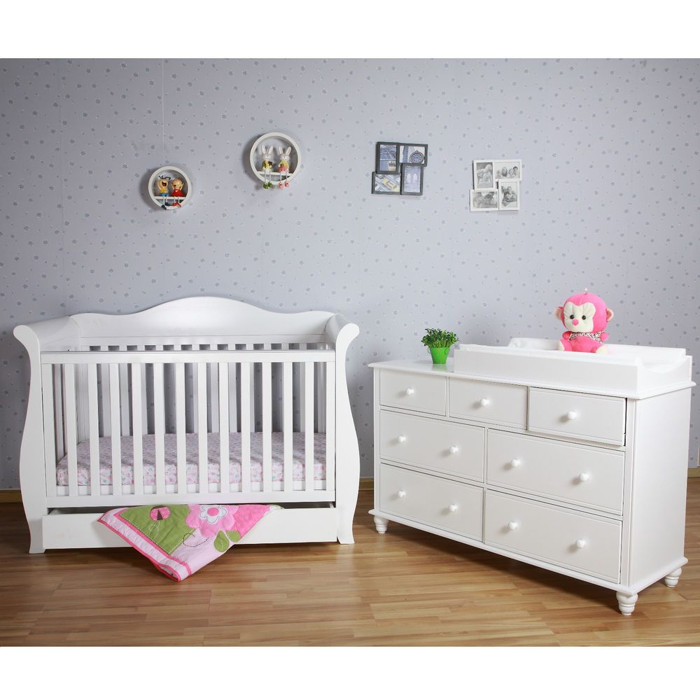 Nursery  C B White Baby Sleigh Cot Toddler Bed With Drawers