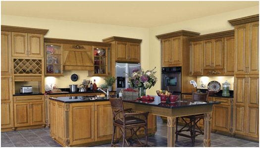 green kitchen cabinets | ... kitchen with sage green antiqued island ...