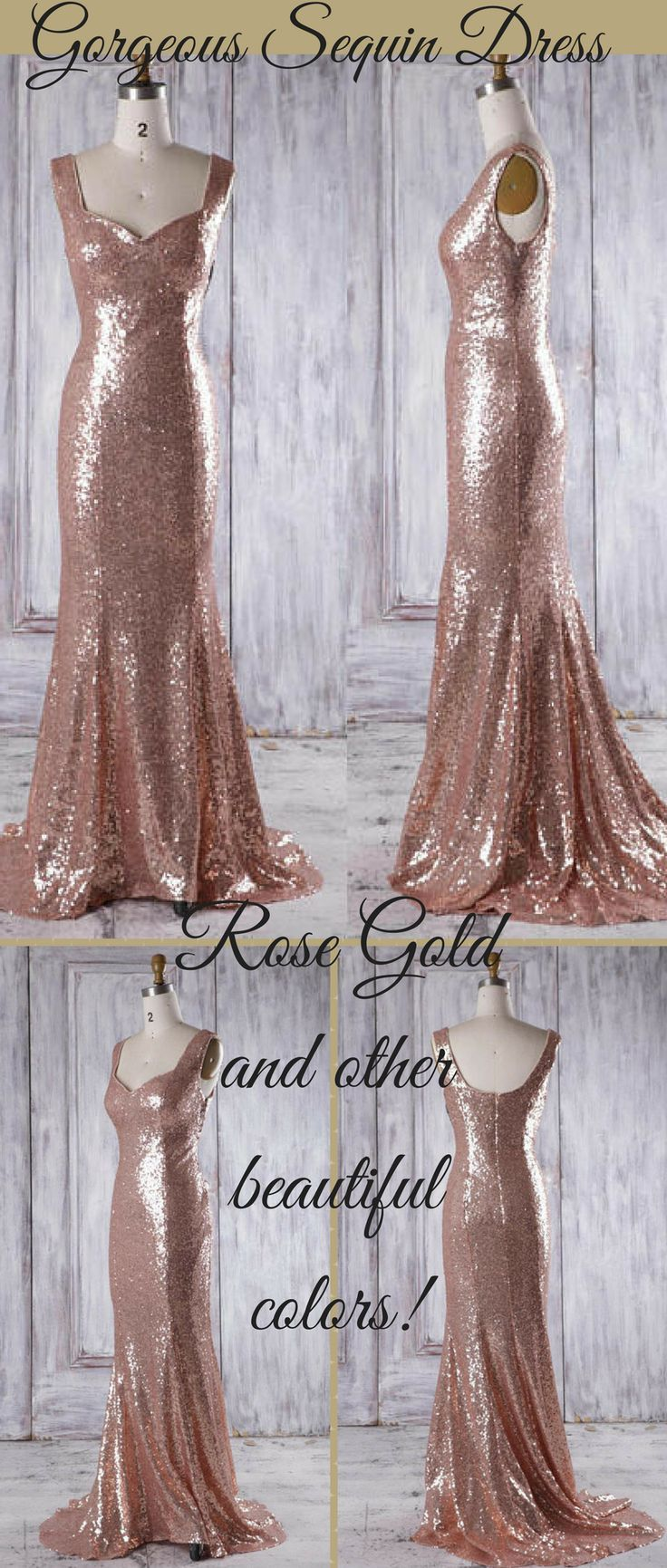 Bridesmaid dress rose gold long evening dress with trainopen back
