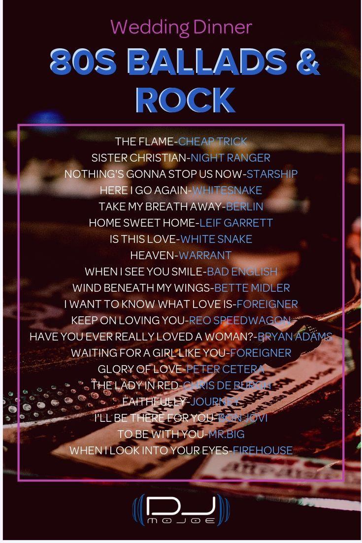 Wedding Playlist 80s Ballads and Rock in 2020 80s