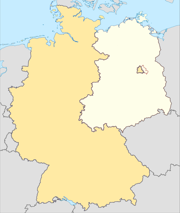 Map showing division of Germany in 1989. East West and Divided Berlin.