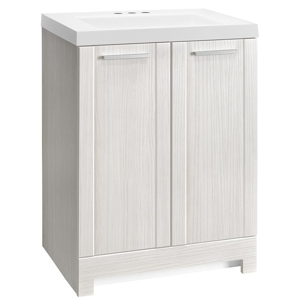 W Vanity In Stone Washed With Cultured Marble Top White Basin Ppharglc24 The Home Depot