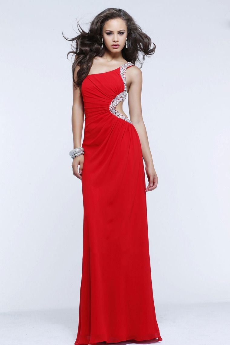 Shop new style one shoulder beaded floor length backless red
