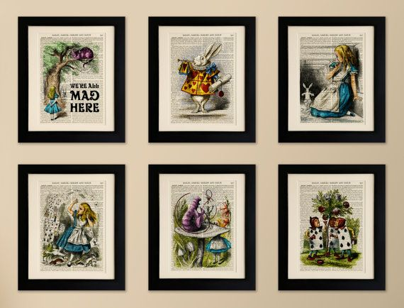 set of 6 art prints on old antique book page alice in wonderland vintage upcycled wall art print encyclopaedia dictionary page fab gift - Prints On Old Book Pages