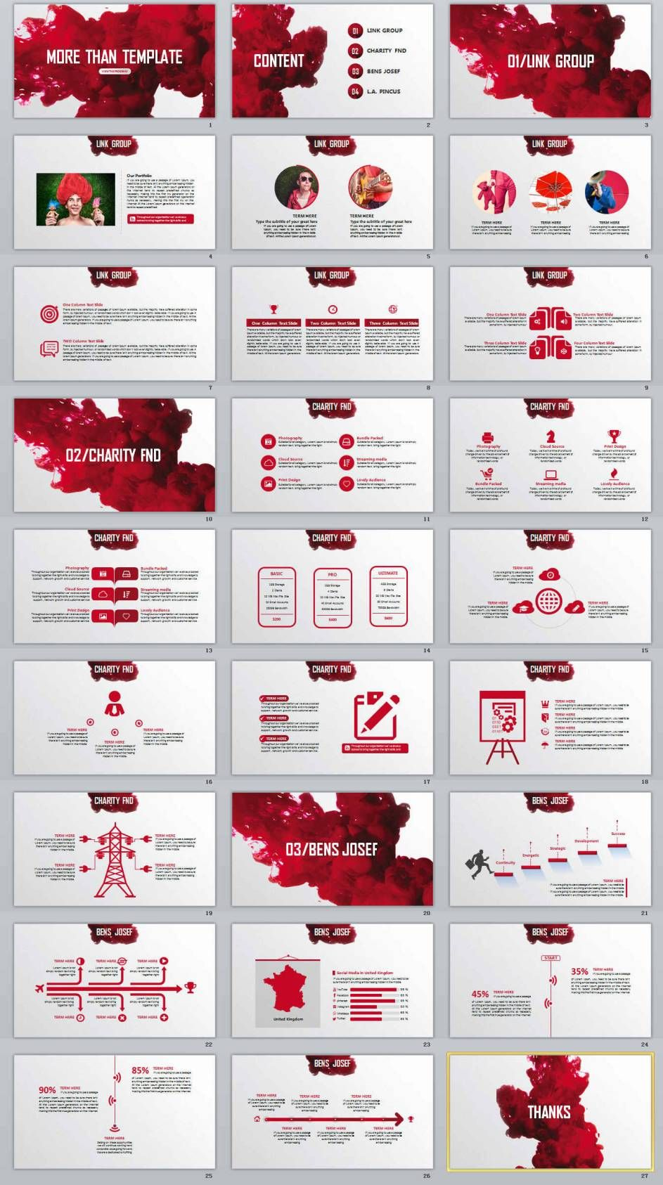 27 red business professional powerpoint templates presentation