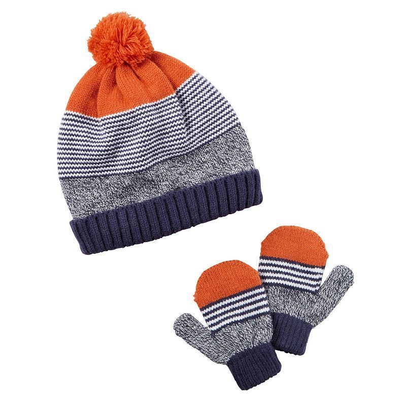 Toddler Boy Carter s Sweater Striped Beanie Hat   Mittens Set ca529f35865d