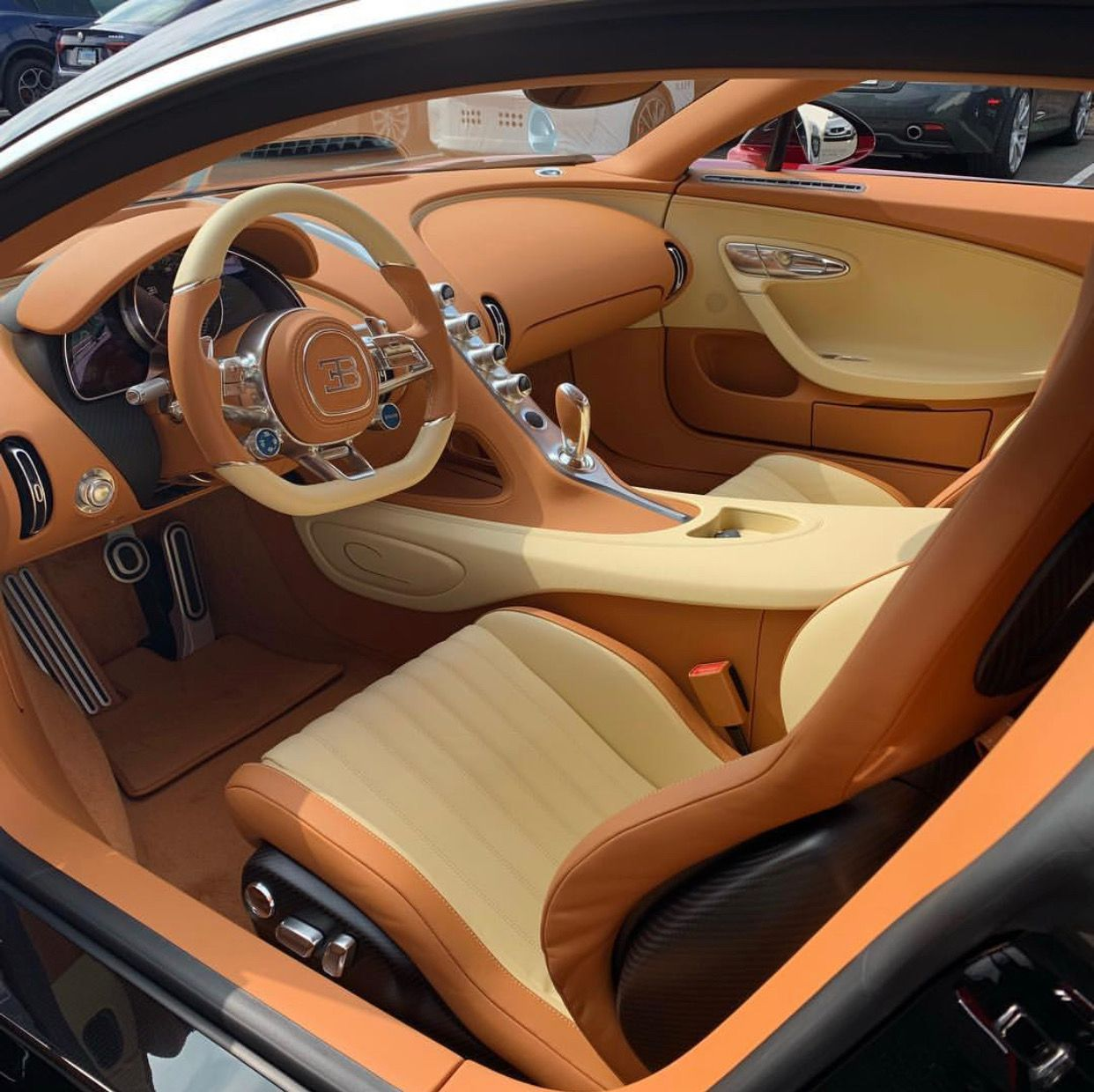 Interior Of The Bugatti Chiron Painted In Bentley Candy Red W