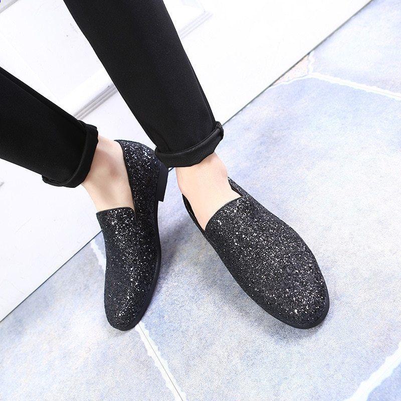 8384e9346d979 RUIDENG pánské party boty pro noční kluby látkové plátno zlaté černé  Stříbrné mokasíny móda Příležitostné červené