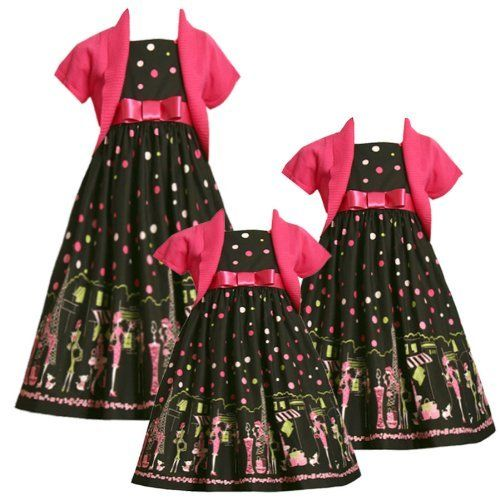 Bonnie Jean Toddler Girls 2T-4T 2-Piece FUCHSIA-PINK GREEN BLACK 'Paris Shopping' BORDER PRINT Special Occasion Party Dress/Sweater Set Bonnie Jean, http://www.amazon.com/dp/B004HQPES6/ref=cm_sw_r_pi_dp_sdZRpb0DT345E