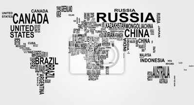 world map with country name Wall Mural • Pixers® • We live to change ...