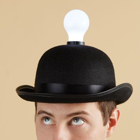 The Wittiest Of Accent Lamps, Felted Black Bowler Hat Has Satin Ribbon Trim  And A Bulb On Top That Houses Three Long Lasting LEDs.