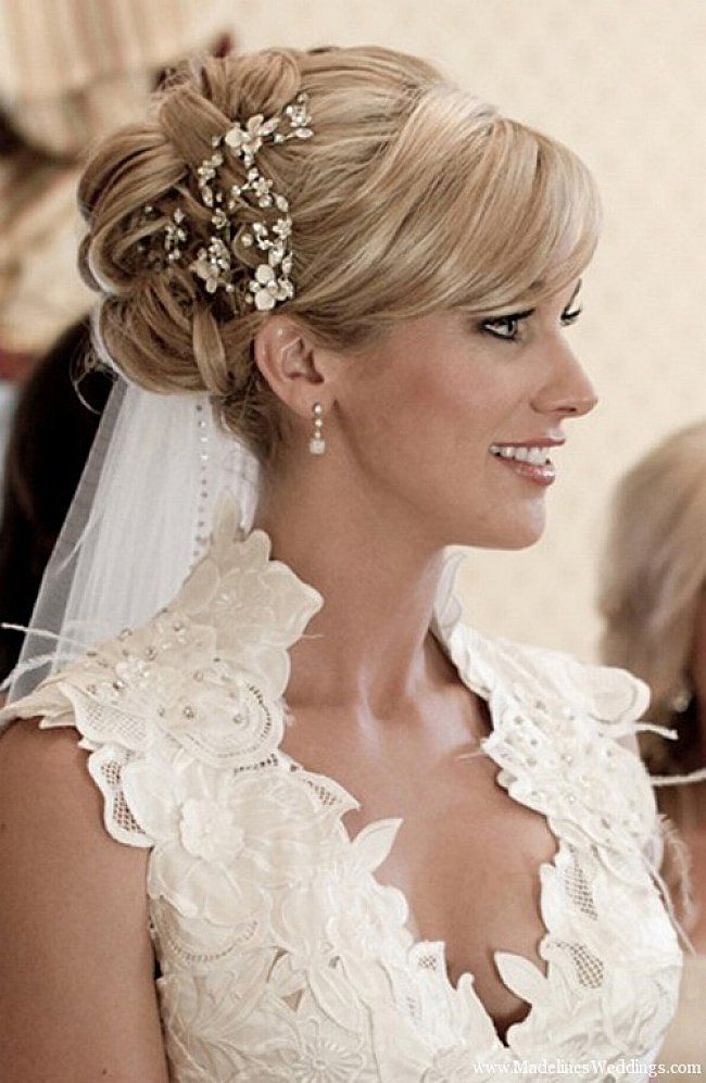 Wedding Bun Hairstyles For Long Hair With Side Bangs And Veil Jpg 650 997 Wedding Hairstyles For Medium Hair Elegant Wedding Hair Wedding Hairstyles With Veil