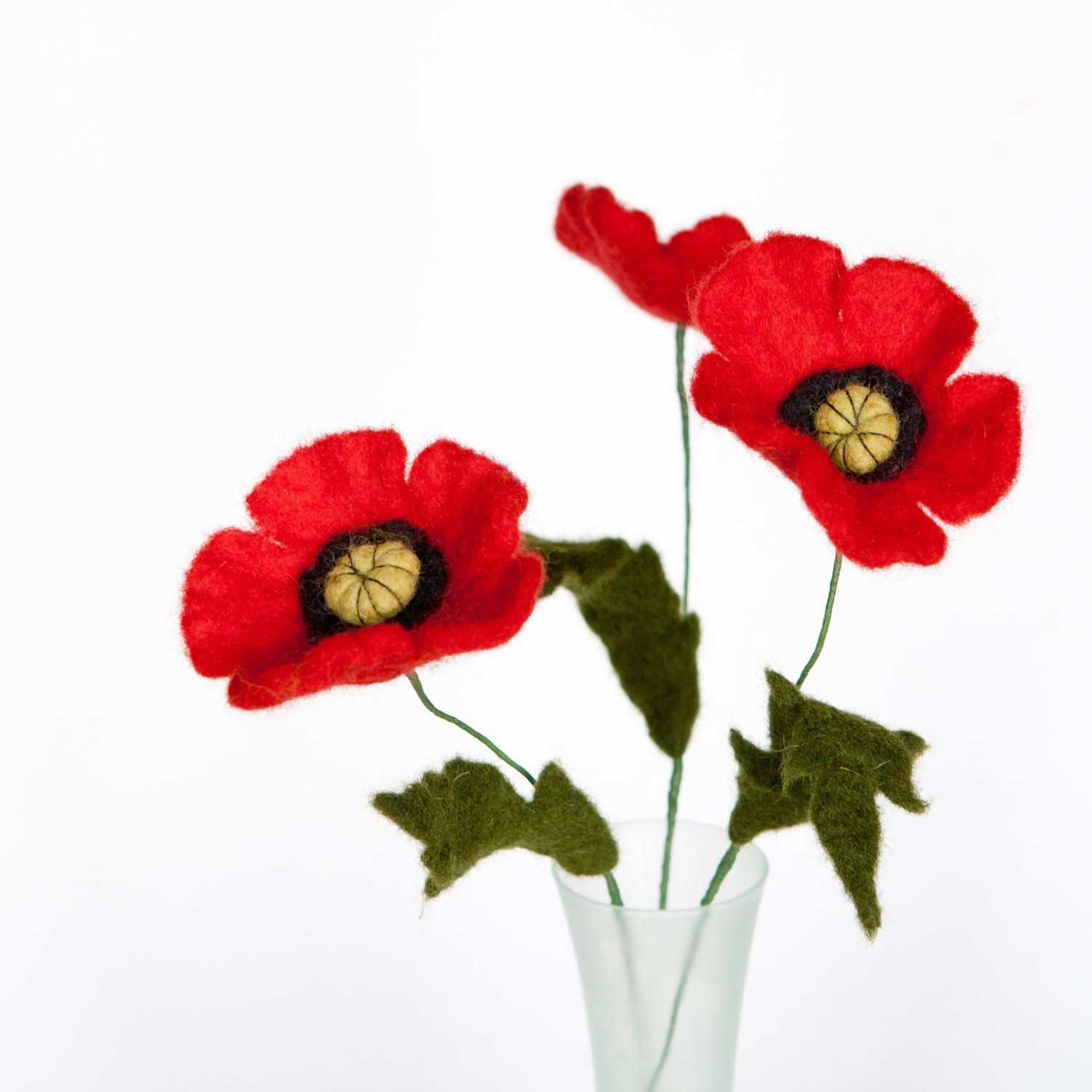 Wet Felted Woodland Eco Friendly Flower Bouquet Red Poppies Fall ...