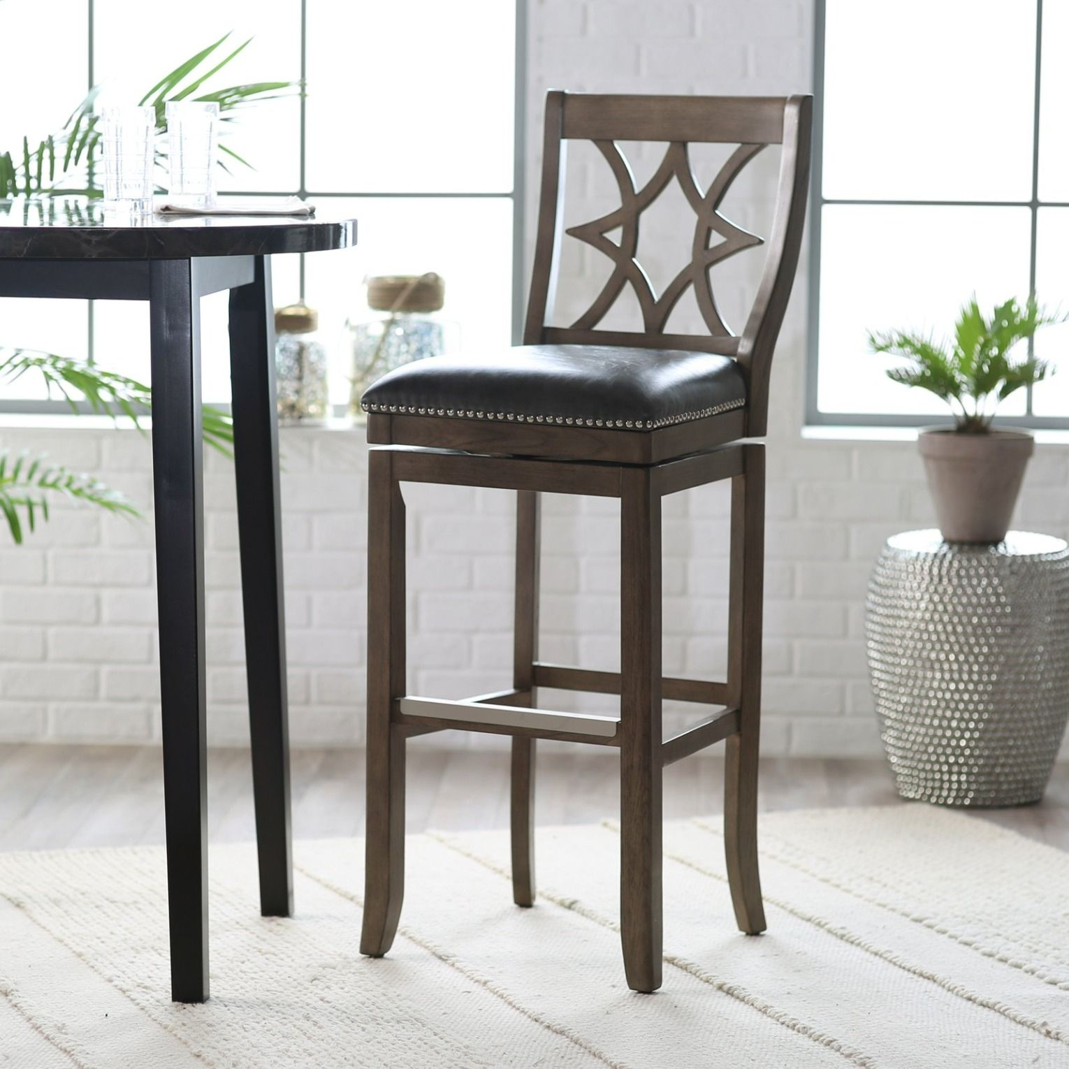 Belham Living Oliver Square Seat Swivel Extra Tall Bar Stool Bar