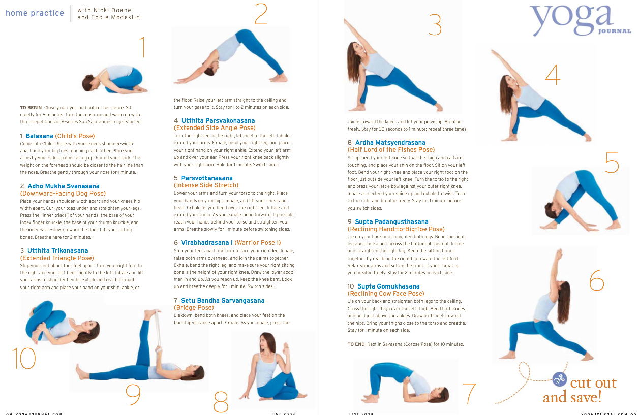 Yoga Sequence from Yoga Journal, June '50   Power yoga, Yoga ...