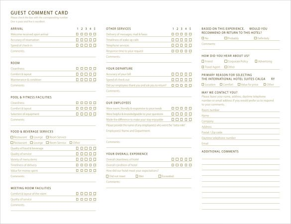 hotel comment card template Comment Card Template – 27  Free Printable Word, PDF, PSD, EPS ...