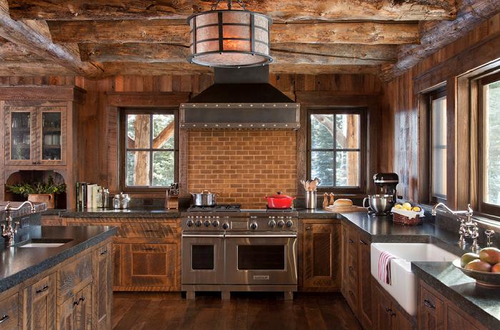Se pueden apreciar los muebles en el diseño de una cocina rústica ...