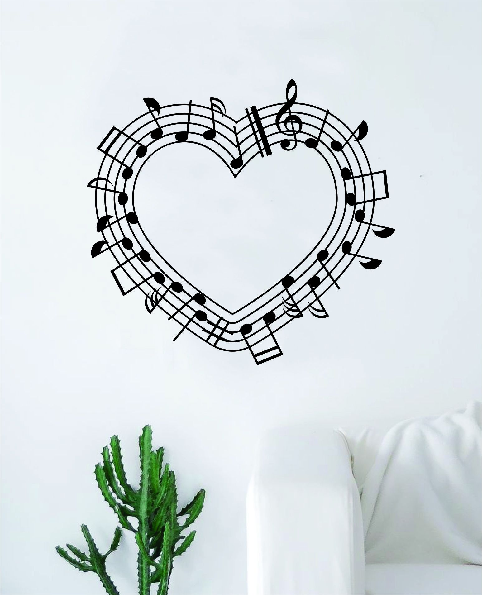"""Music Notes HeartThe latest in home decorating. Beautiful wall vinyl decals, that are simple to apply, are a great accent piece for any room, come in an array of colors, and are a cheap alternative to a custom paint job.Default color is blackMEASUREMENTS:28"""" x 26"""" About Our Wall Decals:* Each decal is made of high quality, self-adhesive and waterproof vinyl.* Our vinyl is rated to last 7 years outdoors and even longer indoors.* Decals can be applied to any clean, smooth and flat surface. Put the"""