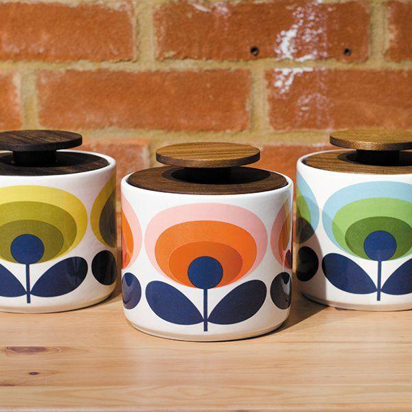 Yellow Kitchen Storage: Orla Kiely 1 Litre Storage Jar With Yellow Seventies Style