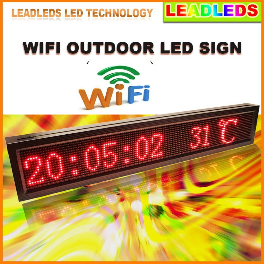 16 x 96 Pixels P10 Outdoor RED Ultra Brightness Wifi Programmable