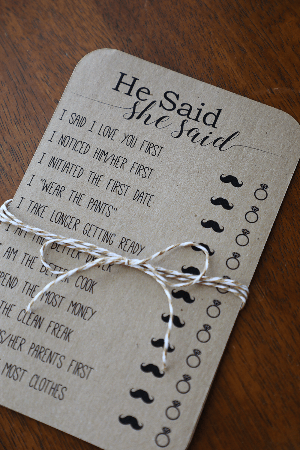 He Said She Said . Bridal Shower Games . Instant Download #bridalshowerdecorations