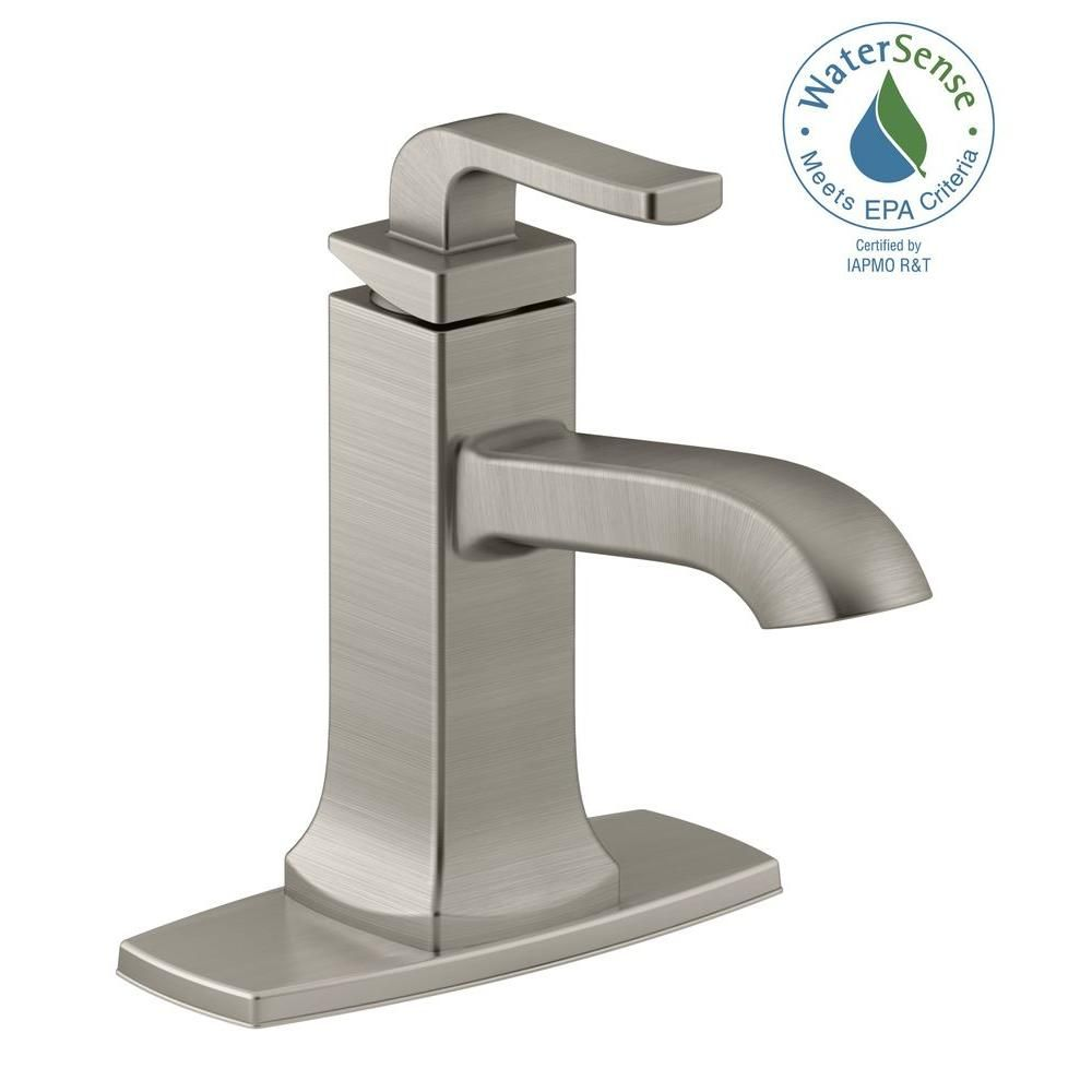 Kohler Rubicon Single Hole Handle Bathroom Faucet In Vibrant Brushed Nickel K R76214 4d Bn The Home Depot