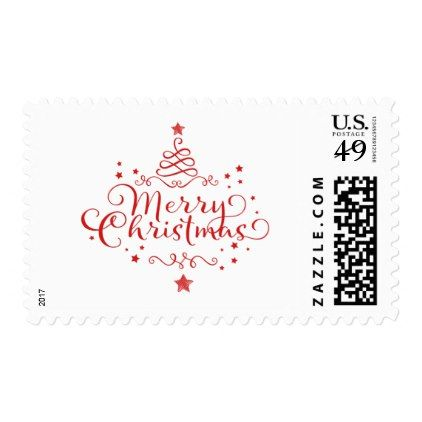 Merry Christmas Typography Postage Stamp holiday card diy