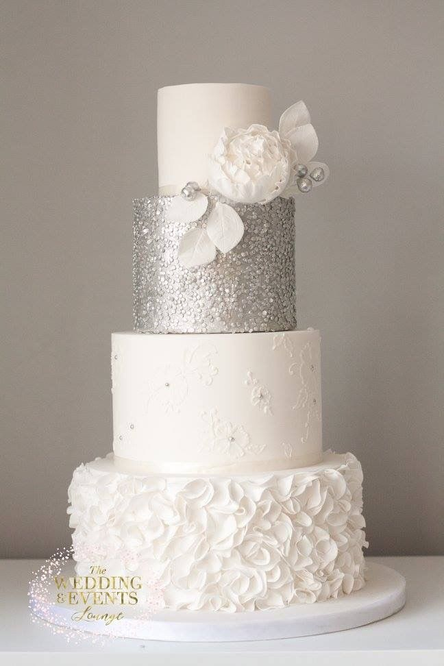 Silver sequin wedding cake lace ruffles peony modern wedding cake     Silver sequin wedding cake lace ruffles peony modern wedding cake