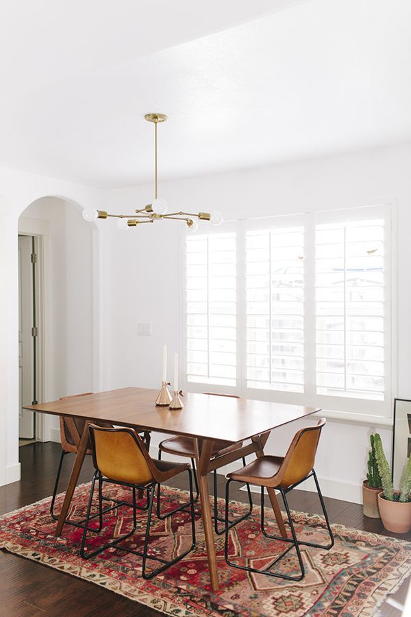 Simple Mid Century Table And Colorful Rug Https Emfurn Com