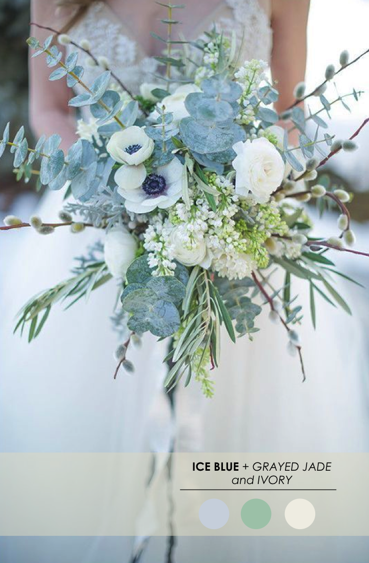5 winter wedding color palettes winter weddings blue grey and jade