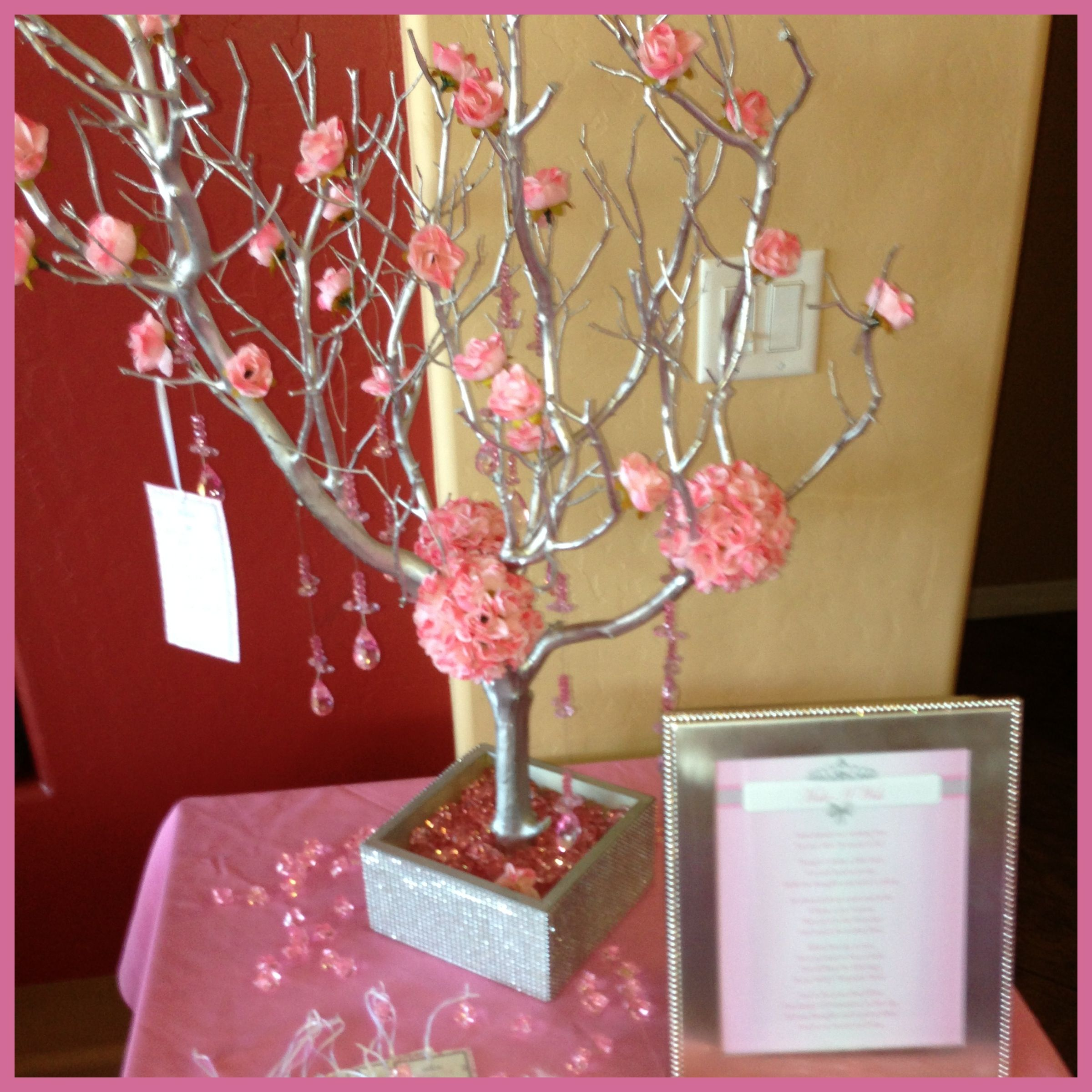 Silver manzanita wish tree for a Princess themed baby shower In