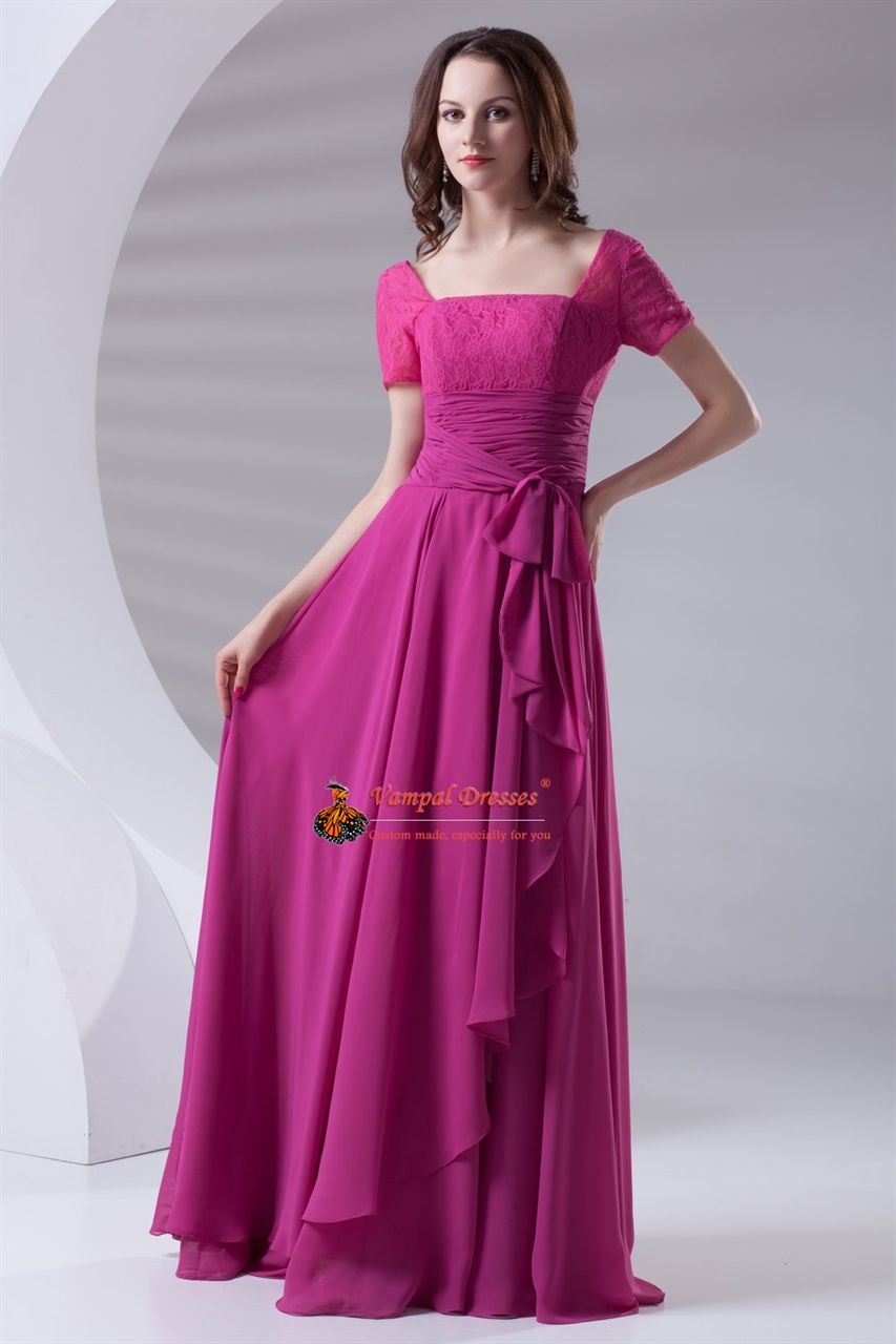 6ace12545c1 Flowy Chiffon And Lace Fuchsia Short Sleeve Mother Of The Bride Dress With  Cascading-Ruffle